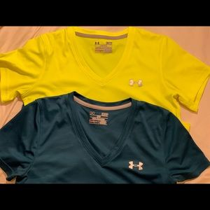 Yellow/Blue Under Armour Workout Shirts